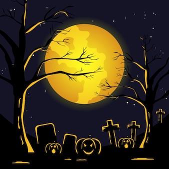 Illustrazione piana di halloween. notte di luna piena nel cimitero spettrale
