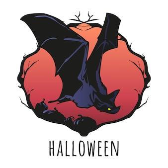 Illustrazione vettoriale di pipistrello volante di halloween