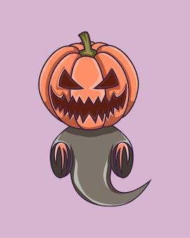 Fantasma di zucca volante di halloween, per logo, mascotte, icona