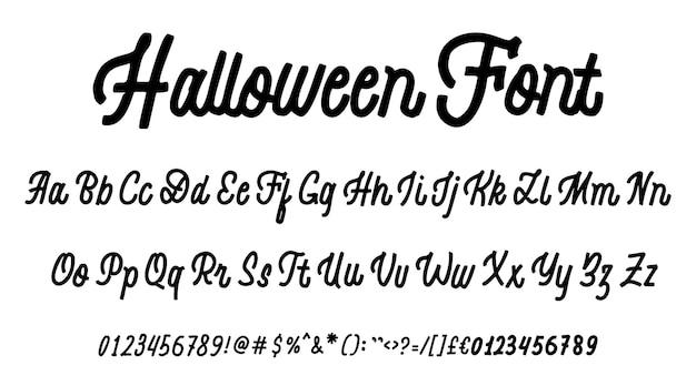 Carattere di halloween set di caratteri tipografici disegnati a mano isolato su bianco