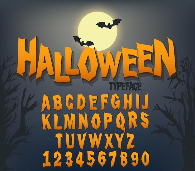 Carattere di halloween, carattere tipografico originale, alfabeto spaventoso e inquietante, lettere sporche, per la festa. vettore