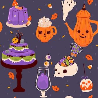 Reticolo senza giunte di halloween cibo e bevande. grafica vettoriale.