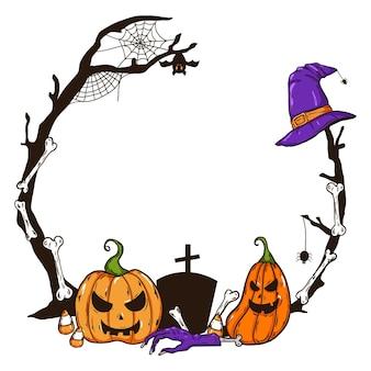 Cornice di halloween disegnata Vettore Premium