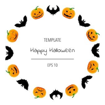 Cornice di halloween per il tuo testo con attributi tradizionali. stile cartone animato. illustrazione vettoriale.