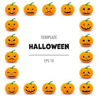 Cornice di halloween per il tuo testo con attributi tradizionali. stile cartone animato.