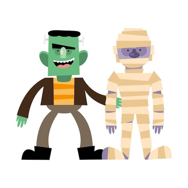 Halloween frankenstein e mummia cartoon, buone vacanze e pauroso