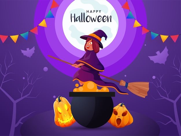 Sfondo di luna piena di halloween con strega volante jackolanterns e calderone