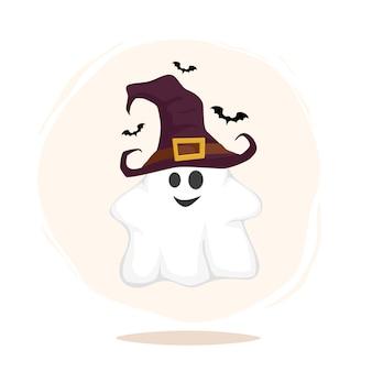 Personaggi divertenti di halloween. fantasma in cappello della strega isolato
