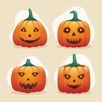 Accumulazione divertente della testa della zucca di halloween