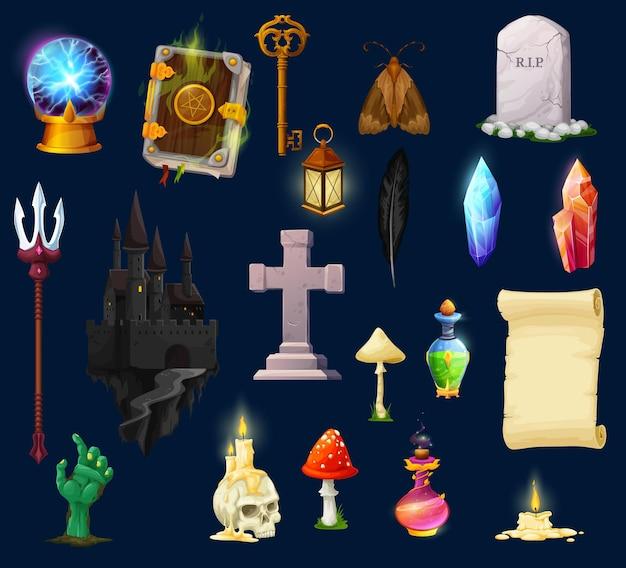Risorse di gioco di halloween, personaggi dell'interfaccia utente e icone