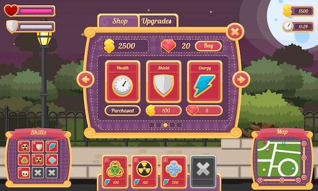 Interfaccia utente del gioco halloween Vettore Premium