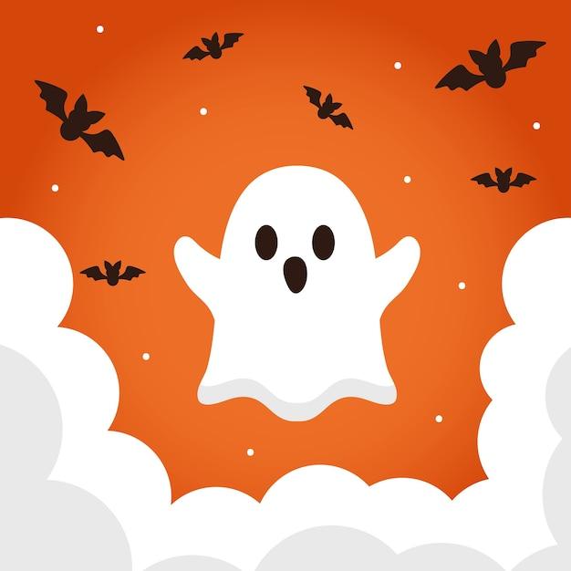 Cartone animato fantasma di halloween con design di pipistrelli, tema spaventoso