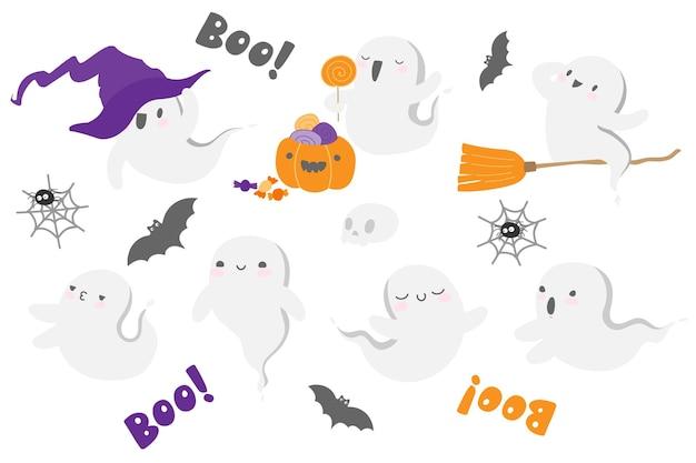Fantasma di halloween in simpatici fantasmi samhain sorridenti in stile kawaii incastonati con ragnatela di pipistrello teschio