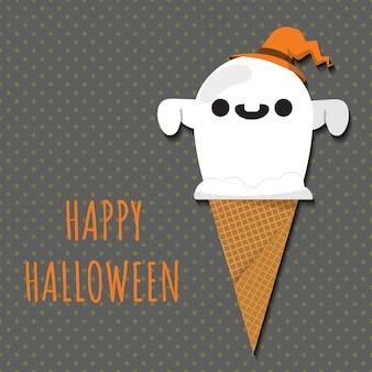 Halloween ghost a forma di pallina di gelato.