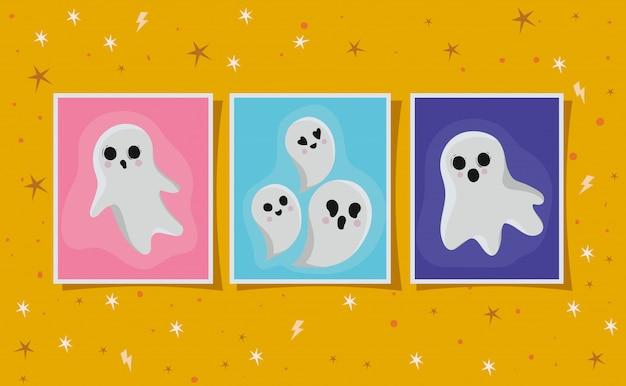 Cartoni animati di fantasmi di halloween in design di cornici, vacanze e tema spaventoso