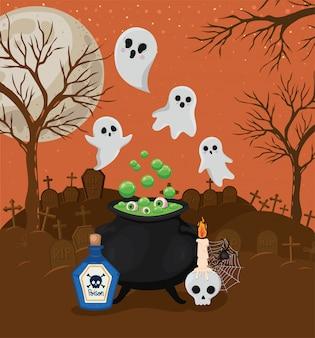 Cartoni animati di fantasmi di halloween e ciotola della strega davanti al design del cimitero, alle vacanze e al tema spaventoso