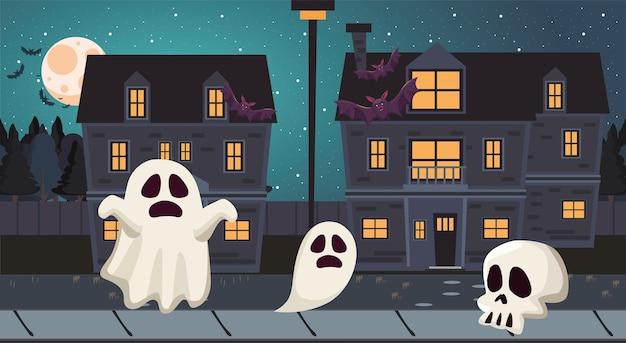 Fantasmi di halloween e cartoni animati di teschi di notte design, vacanze e tema spaventoso