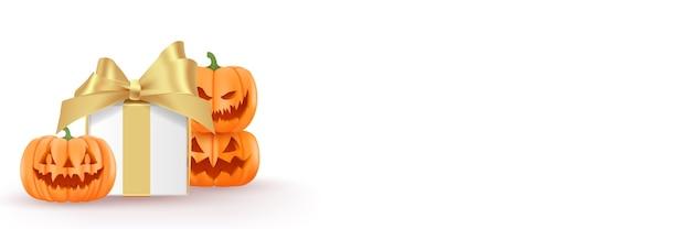 Confezione regalo di halloween e zucche. sfondo di halloween per il tuo testo.