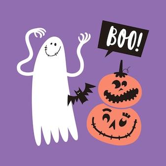 Biglietto di auguri di halloween con fantasmi e zucche in semplice stile disegnato a mano