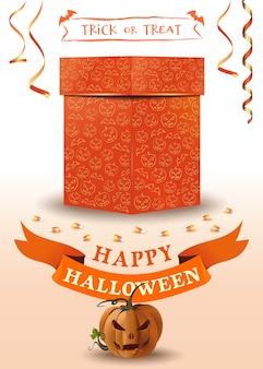 Biglietto di auguri di halloween con scatola regalo arancione e jack o lantern. felice halloween. dolcetto o scherzetto.