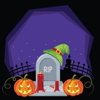 Biglietto di auguri di halloween con candele di zucca spaventose e sfondo di cappello fantasma rip