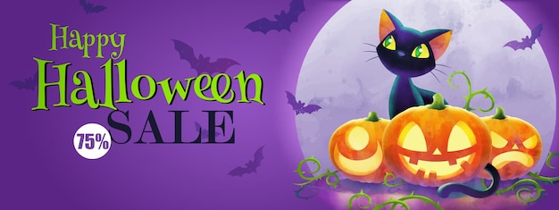 Il concetto di saluto di halloween, banner di vendita di halloween con gatto e zucche contro la luna piena su sfondo viola
