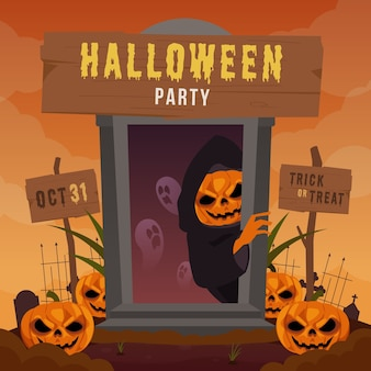 Illustrazione di saluto di halloween