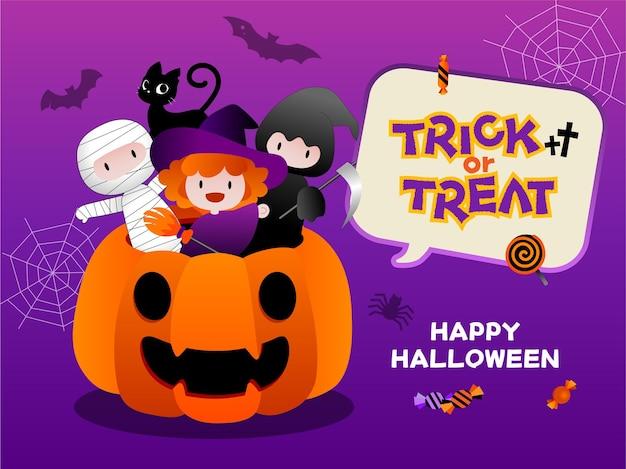 Saluto di halloween o invito a una festa con i bambini dolcetto o scherzetto concept