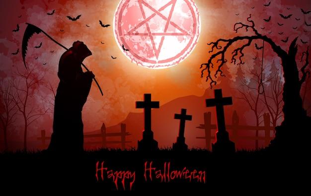 Triste mietitore di halloween che tiene la falce nel cimitero