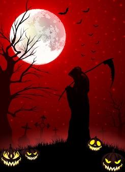 Falce della holding di grim reaper di halloween con le zucche