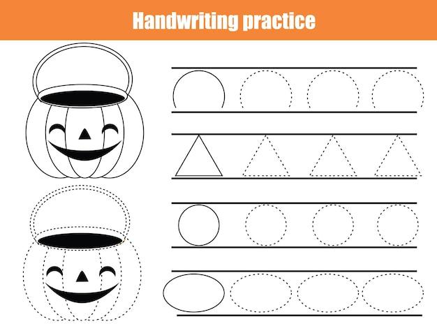 Foglio di pratica della scrittura a mano di halloween. foglio di lavoro per la prima educazione per bambini e neonati. scrittura di base stampabile attività per bambini