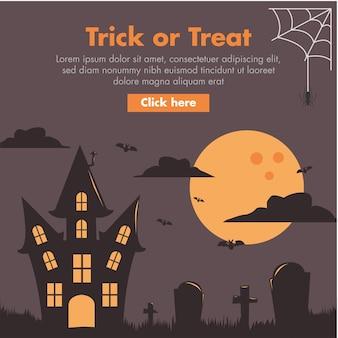 Illustrazione di design piatto casa stregata di halloween