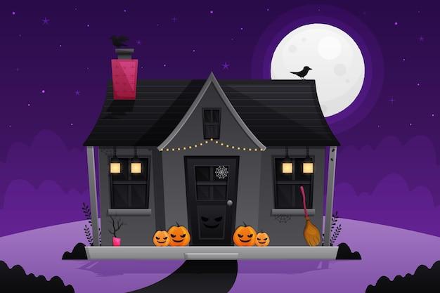 Illustrazione della casa stregata di halloween