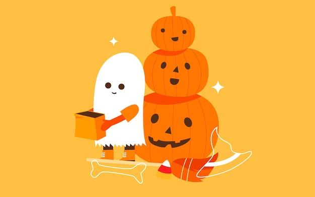 Il bambino dell'illustrazione della celebrazione delle vacanze di halloween finge di essere un fantasma per il poster di caramelle