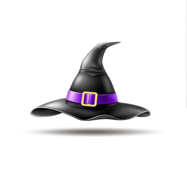 Illustrazione realistica del cappello appuntito della strega dell'elemento di festa di halloween