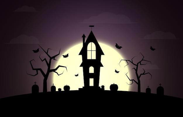 Vacanze di halloween. tre zucche, luna, alberi, tombe.