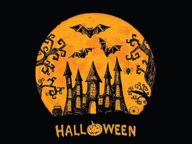 Illustrazione disegnata a mano di notte dell'orrore di halloween