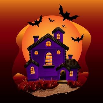 Casa di halloween con pipistrelli volanti
