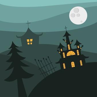 Case di halloween con cancello e pino di notte design, tema spaventoso