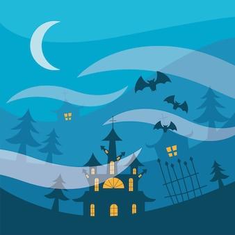 Case di halloween con cancello e alberi di pino di notte design, tema spaventoso