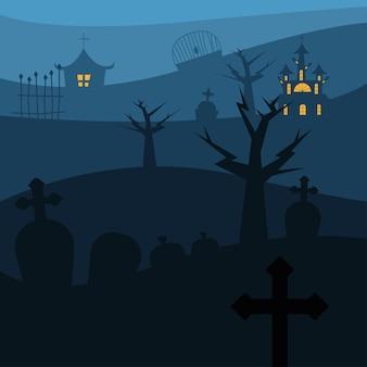 Case di halloween con alberi al design del cimitero, tema spaventoso