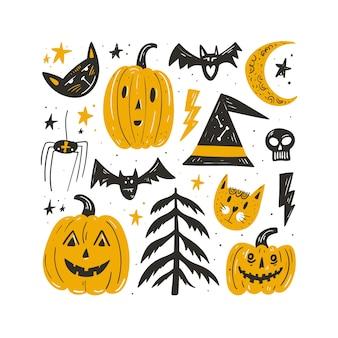 Insieme di elementi ed icona di halloween