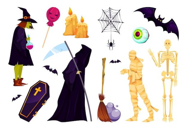 Set di icone di halloween personaggi e simboli di fantasia