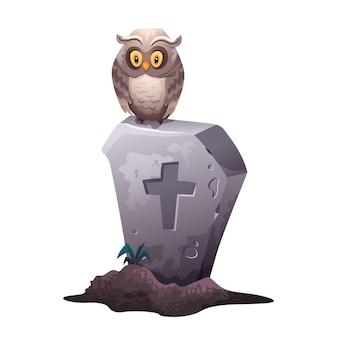 Icona di halloween con lapide e gufo rip croce grave con un gufo seduto su di essa su un cimitero