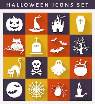 Icone di halloween. raccolta di simboli bianchi su piatti colorati. stile piatto con lunghe ombre. insieme di vettore.