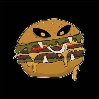 Hamburger di illustrazione di halloween per tshirt
