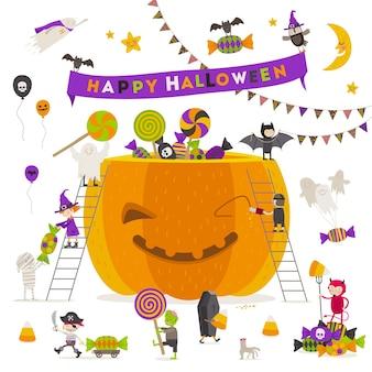 Illustrazione di halloween gruppo di personaggi attivi di halloween intorno a una zucca gigante