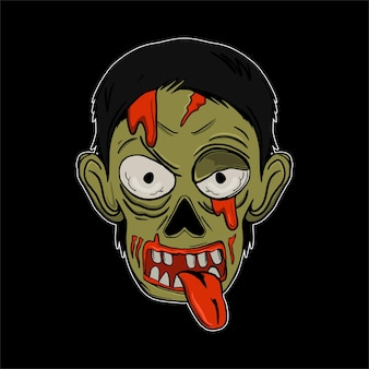 Halloween illustrazione testa zombie per tshirt