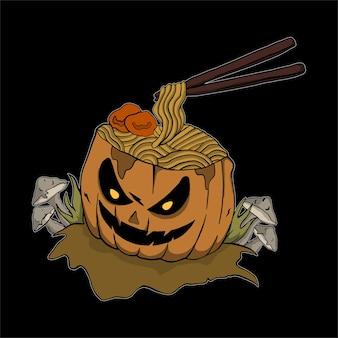 Zucca di noodle illustrazione di halloween per tshirt