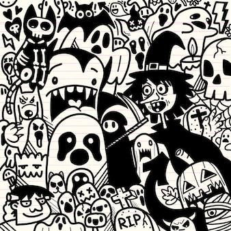 Illustrazione di halloween, uomo lupo, spettrale, vampiro e strega che circondano lo sfondo di elementi di halloween felice adorabile fantasma.
